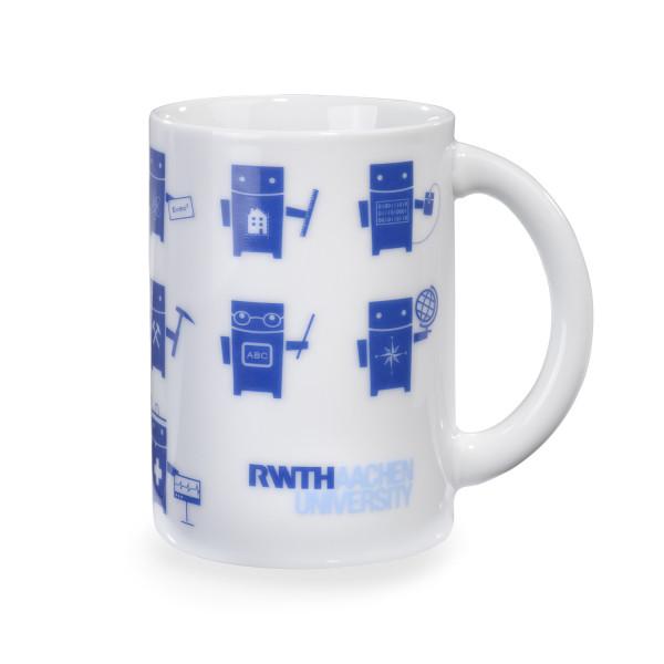 Tasse mit Robotern und Logo Vorderseite
