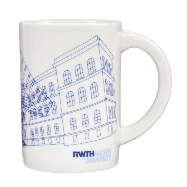 Tasse mit RWTH Gebäudeillu Vorderseite