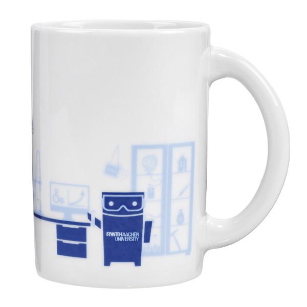 Tasse mit Roboter im Labor Vorderseite